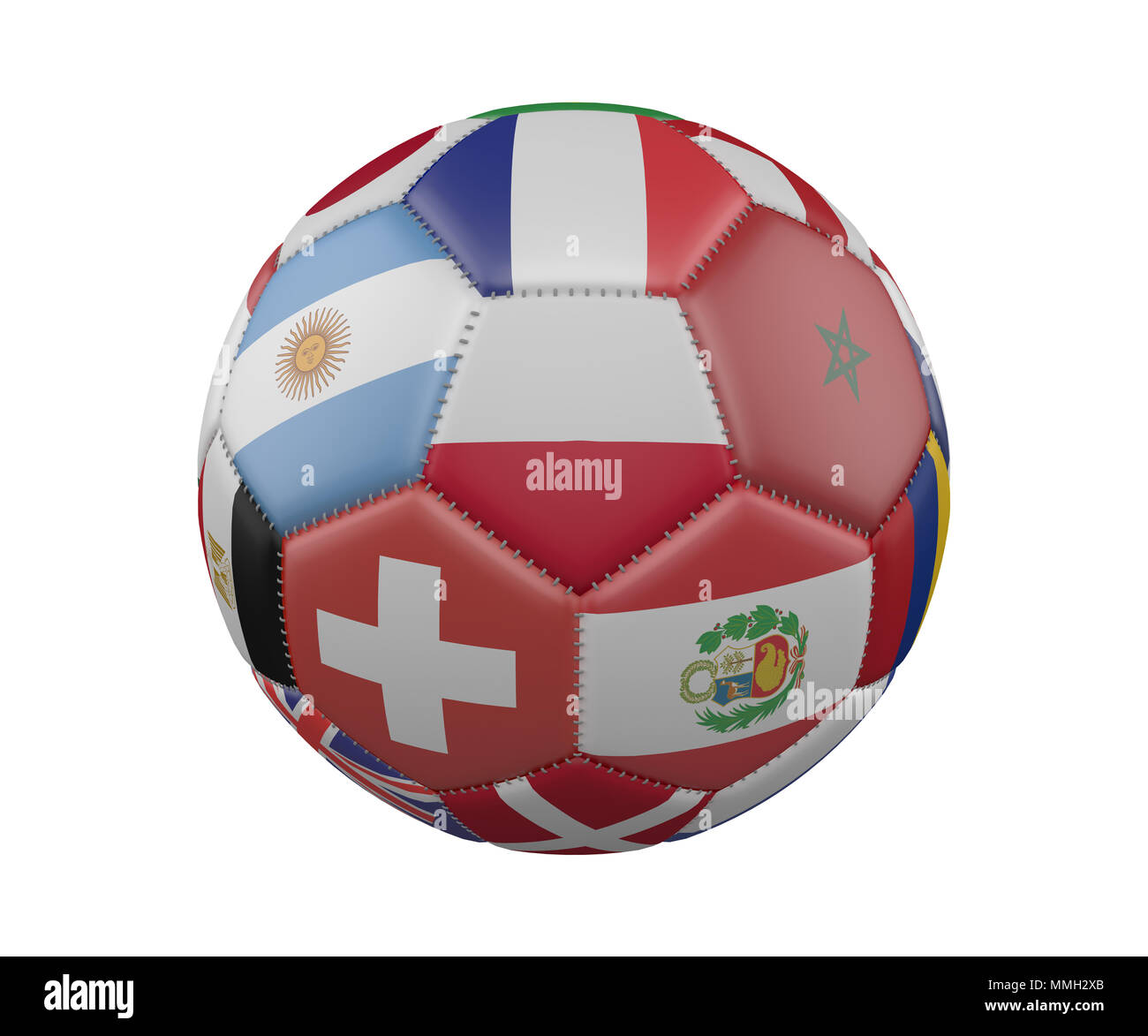 Soccer Ball with Flags isolated on white background, Poland in the center, 3d rendering - Stock Image