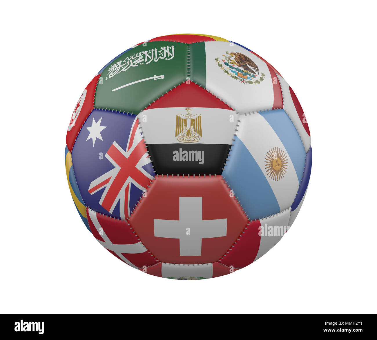 Soccer Ball with Flags isolated on white background, Egypt in the center, 3d rendering - Stock Image