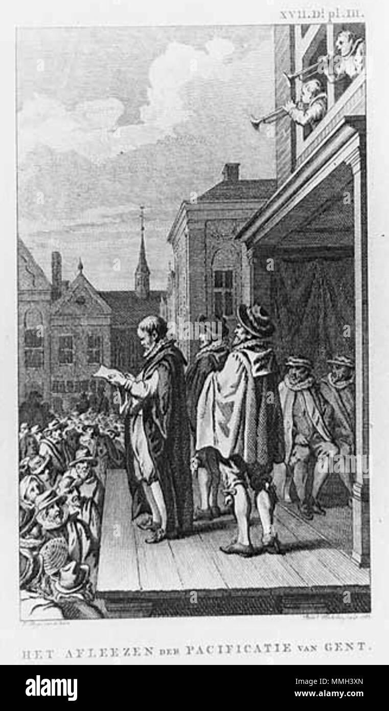 English: Pacification of Ghent, 1576 Nederlands: Het aflezen der  Pacificatie van Gent, 1576 . 1787. J. Buys Gent 1576