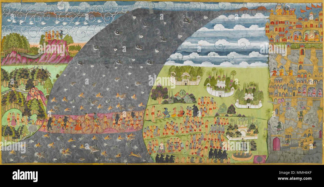 . English: Rama's Army reaches Lanka from the Ram Charit Artist Unknown, ca. 1780, 63x125.8cm Mehrangarh Museum Trust  . 3 March 2007, 06:32:35. Unknown 7 Rama's Army reaches Lanka from the Ram Charit Artist Unknown, ca. 1780, 63x125.8cm Mehrangarh Museum Trust - Stock Image
