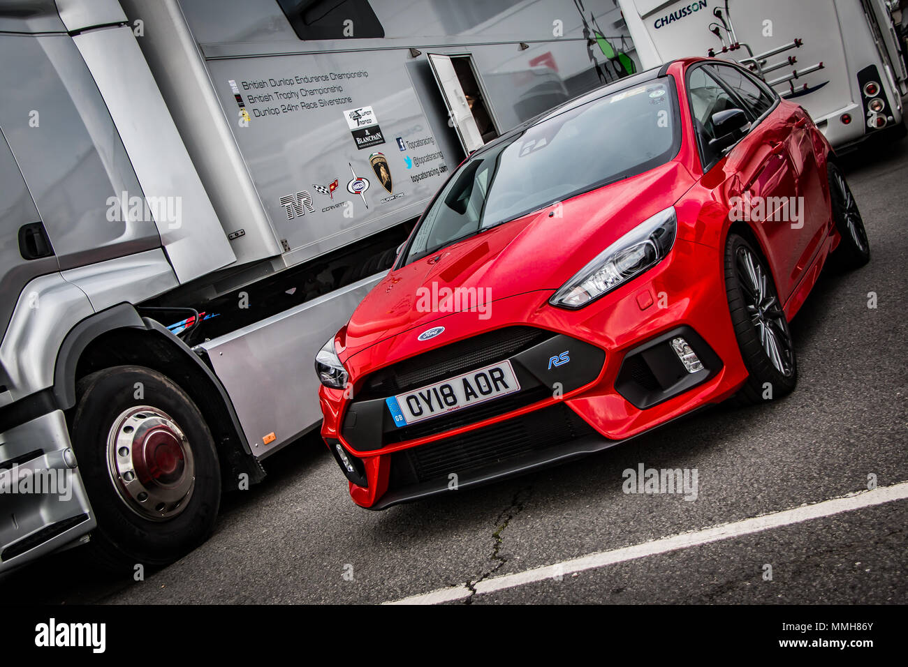 A modern Red Edition Ford Focus RS hatchback car - Stock Image