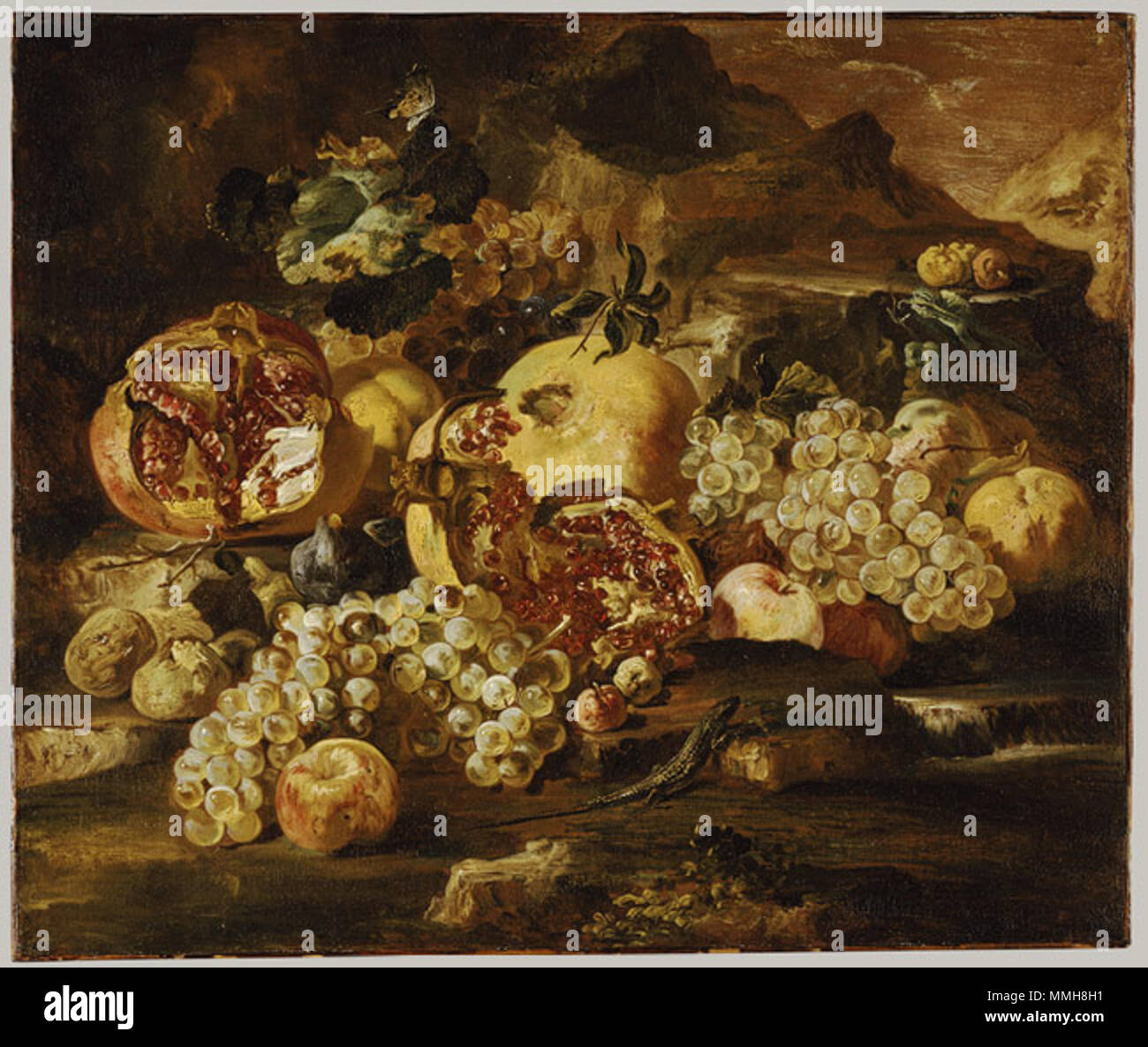 Working Title/Artist: Abraham Brueghel:  Pomegranates and other fruit in a landscape Department: European Paintings Culture/Period/Location:  HB/TOA Date Code:  Working Date:  photography by mma 2003, transparency 7B, 8x10 front scanned and retouched by film and media (jnc) 10 15 07 Abraham Brueghel - Pomegranates and Other Fruit in a Landscape - Stock Image