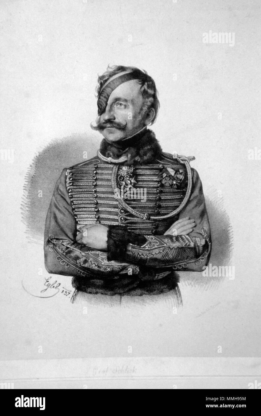 . Deutsch: Franz Graf Schlik von Bassano und Weiskirchen (1789-1862), k. k. General der Kavallerie. Lithographie von Franz Eybl, 1837  . 1837. Franz Eybl (1806-1880) Franz von Schlik Litho Stock Photo