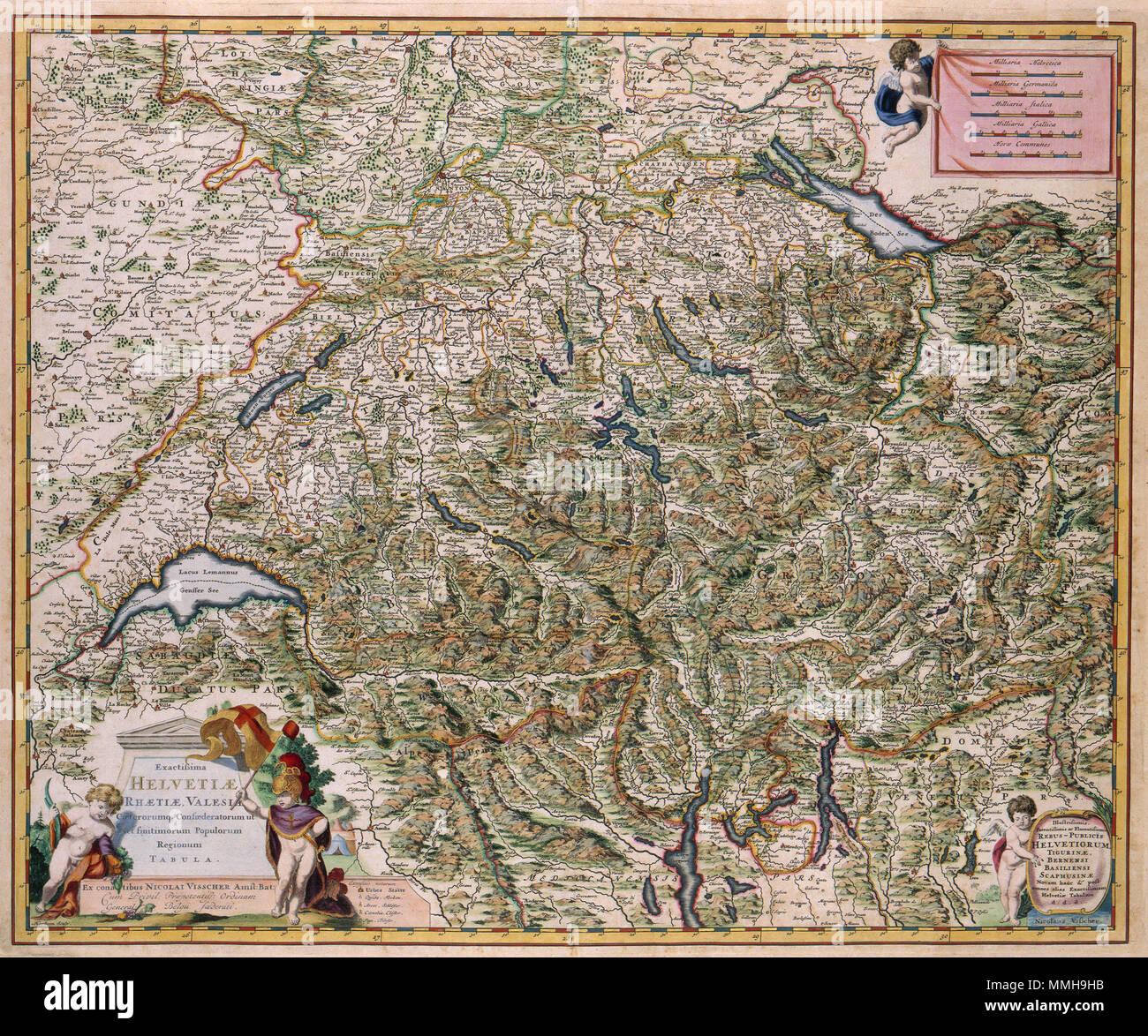 Nederlands Deze Kaart Van Zwitserland Werd Na 1681 Uitgegeven