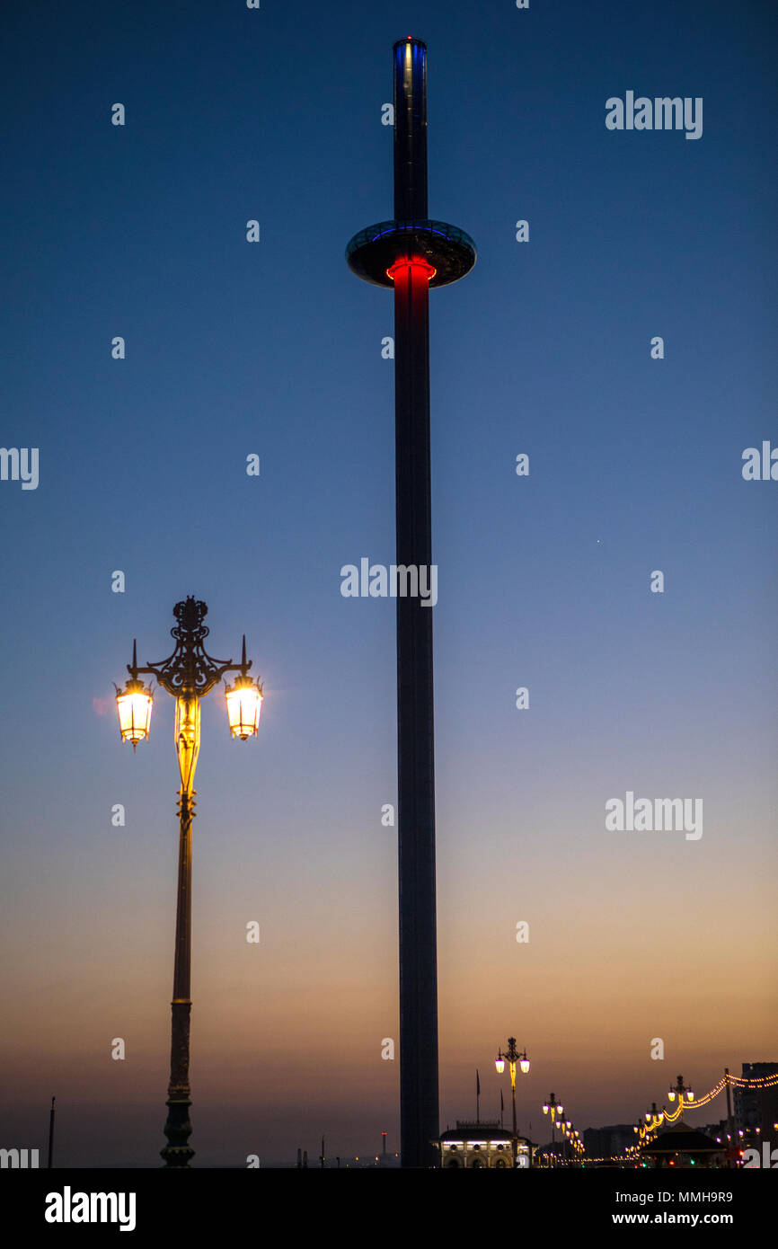 BRIGHTON, UK - MAY 4TH 2018: A dusk-time view of the British Airways i360 observation tower along the seafront in Brighton, on 4th May 2018. - Stock Image