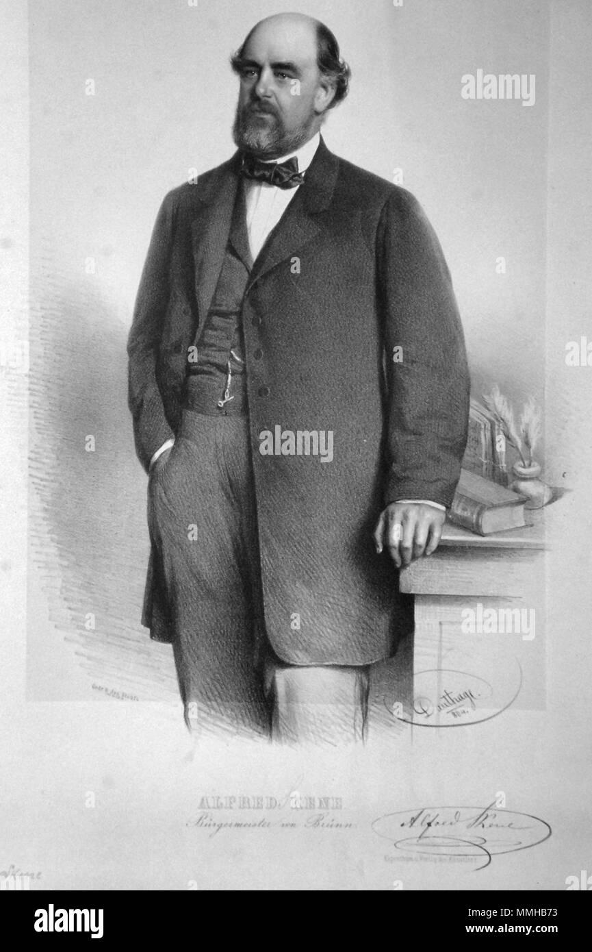 . Deutsch: Alfrerd Skene (1815-1887), Industrieller, Abgeordneter, Bürgermeister von Brünn. Lithographie von Adolf Dauthage, 1864.  . 1864. Adolf Dauthage (1825-1883) Alfred Skene Litho - Stock Image
