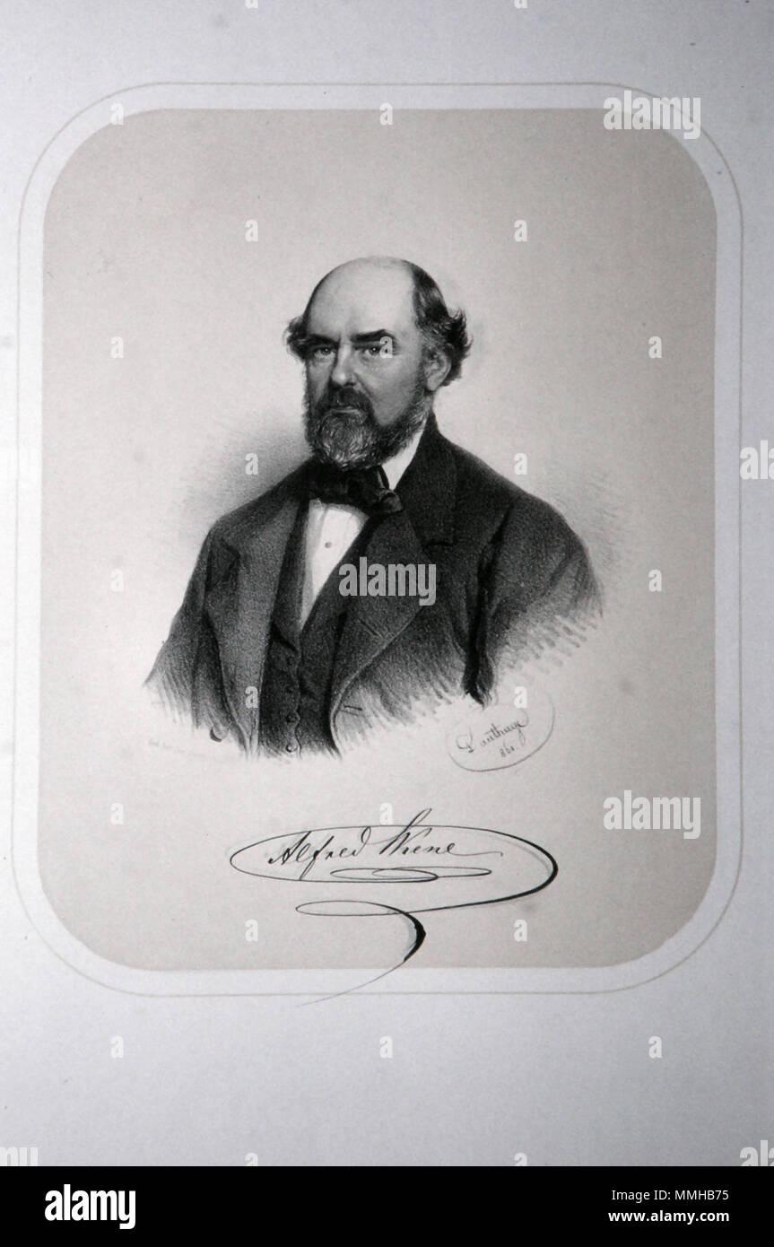 . Deutsch: Alfrerd Skene (1815-1887), Industrieller, Abgeordneter, Bürgermeister von Brünn. Lithographie von Adolf Dauthage, 1865  . 1865. Adolf Dauthage (1825-1883) Alfrred Skene Litho 2 - Stock Image