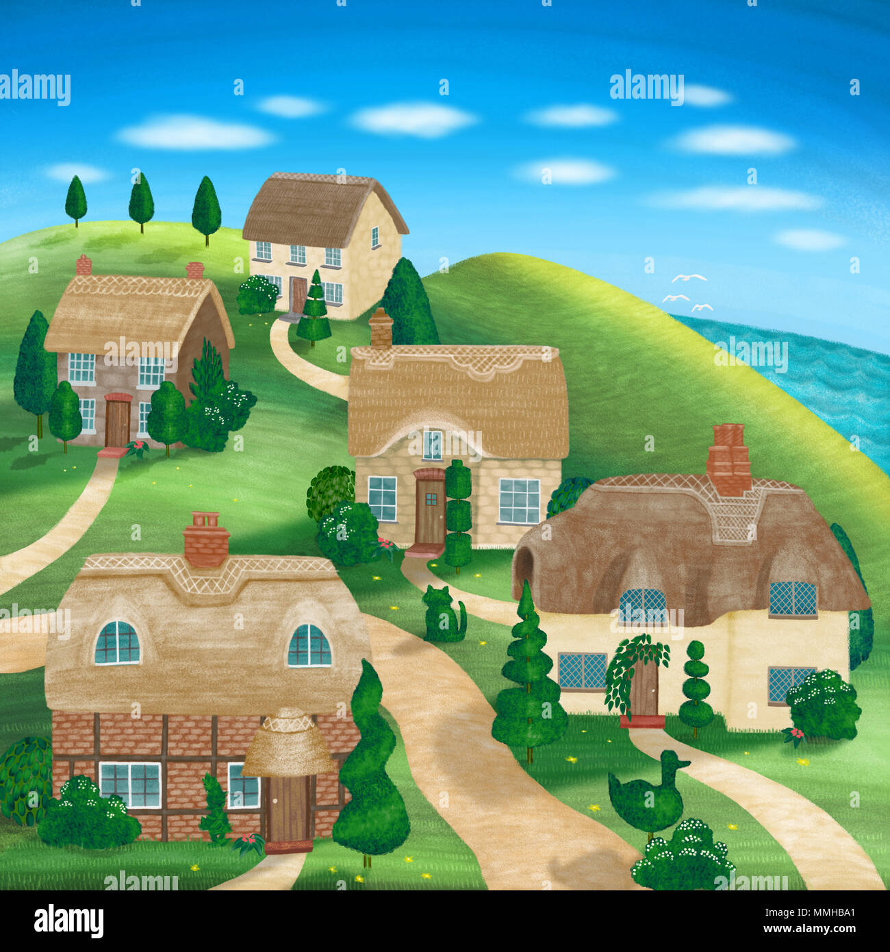 An illustration of English Thatched cottages, on the hillside by the sea. Stock Photo