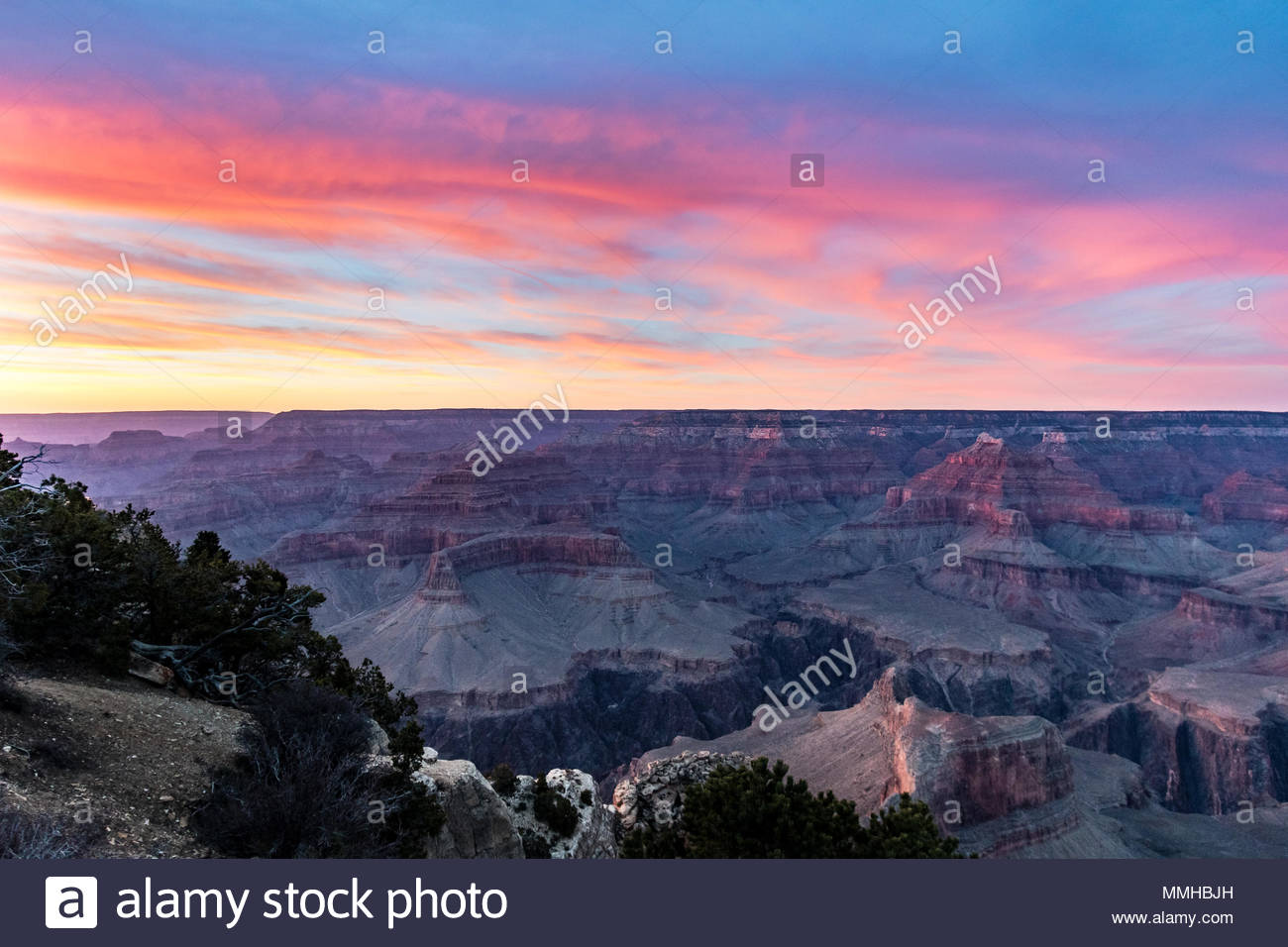 View of the sunset over the South Rim of the Grand Canyon in Arizona, USA - Stock Image