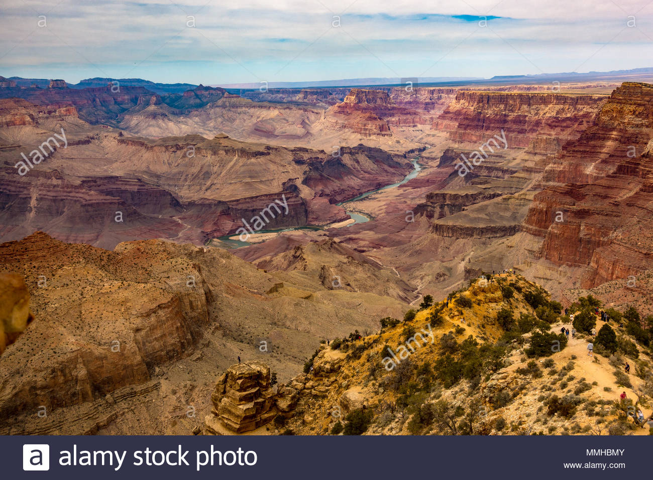 View from Southern Rim of Grand Canyon and Colorado River in Grand Canyon National Park, Arizona, USA Stock Photo