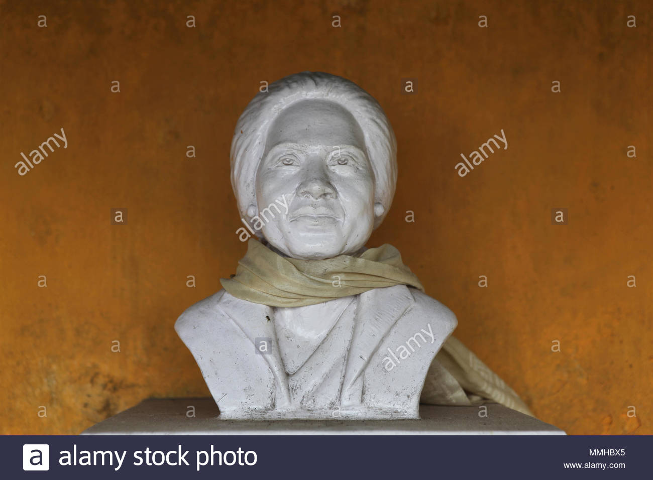 A bust in memory of the President and founder of the Tibetan Refugee Self-Help Centre in Darjeeling, India Lhacham Kusho Mrs. Deky Dolkar Thondup. The Stock Photo