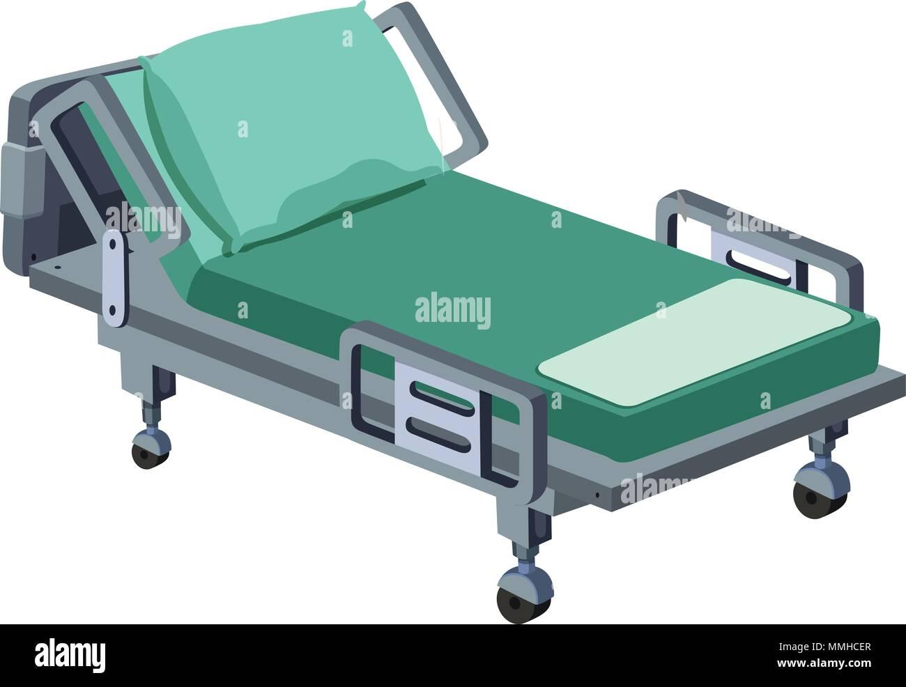 A Modern Hospital Bed On White Background Illustration