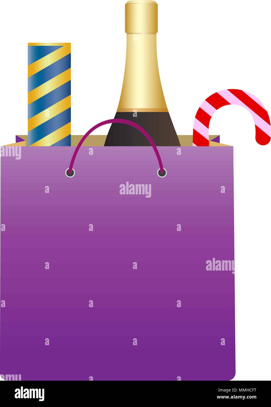 shopping bag with bottle of champagne and party popper christmas candy cane christmas and new year gifts isolated vector illustration on white back