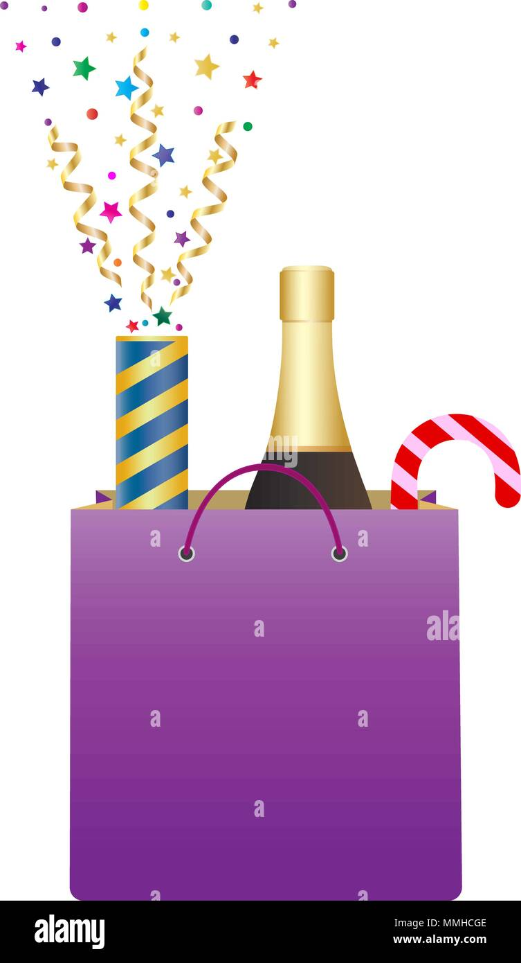 shopping bag with bottle of champagne and christmas candy cane exploding party popper with confetti and streamer christmas and new year gifts isola