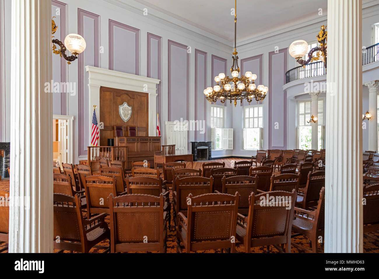 Montgomery, Alabama - The House of Representatives chamber in the Alabama State Capitol. In this room, the Ordinance of Secession, which withdrew Alab - Stock Image