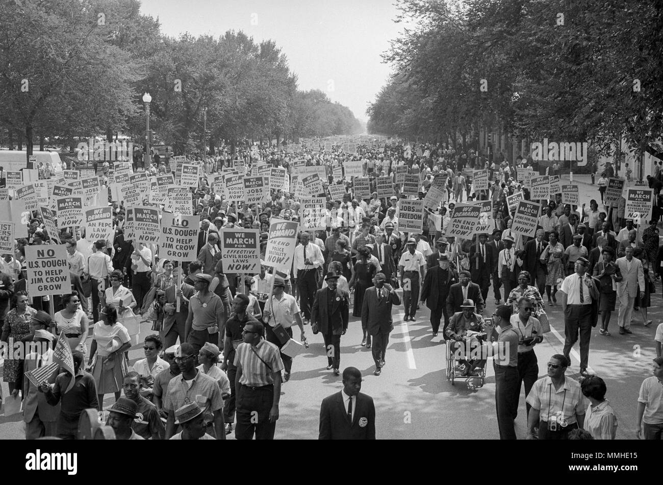 Civil rights marchers in the streets of Washington, D.C. August 28, 1963 - Stock Image