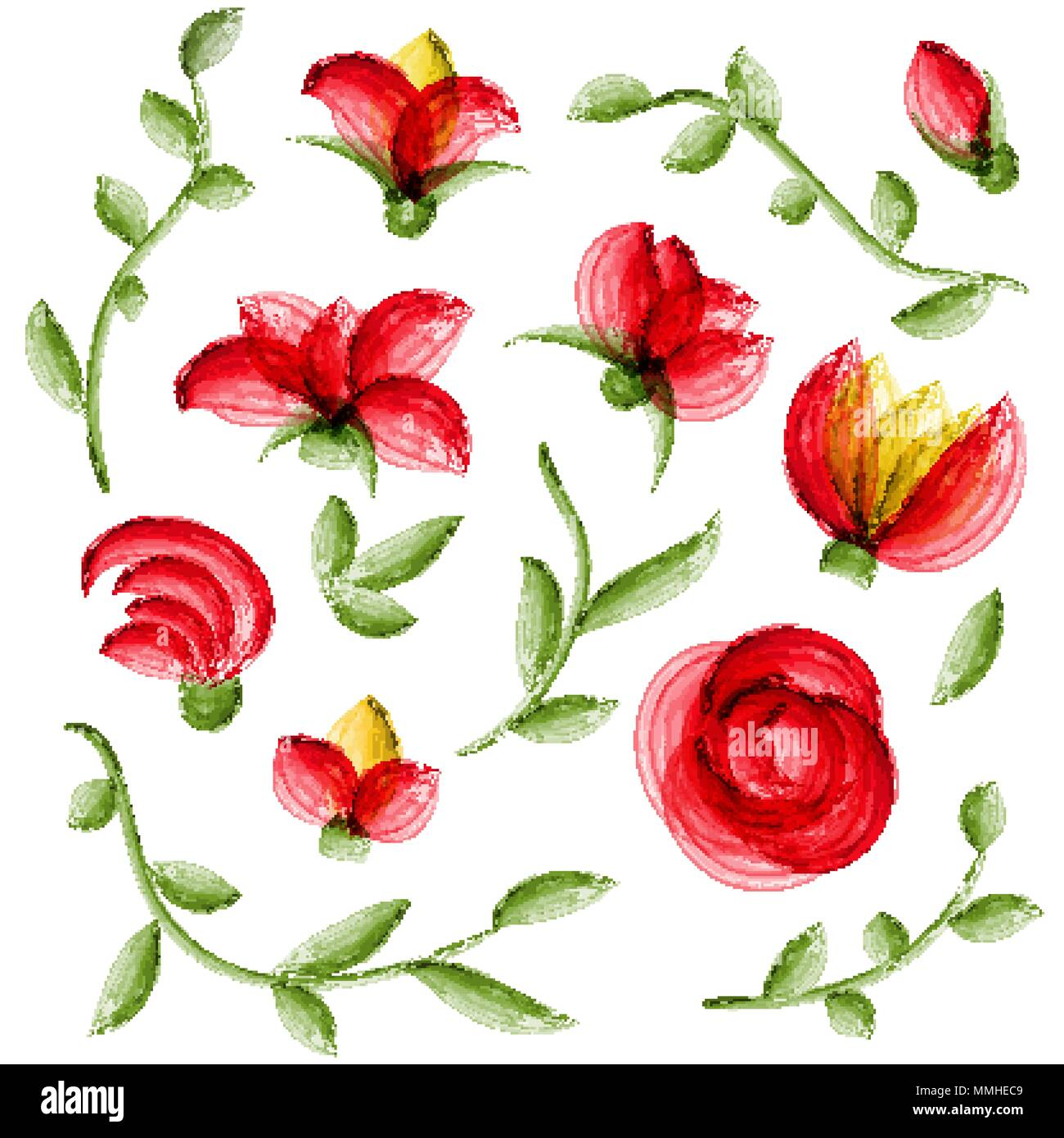 Watercolor vector floral elements suitable for wedding invitation or ...