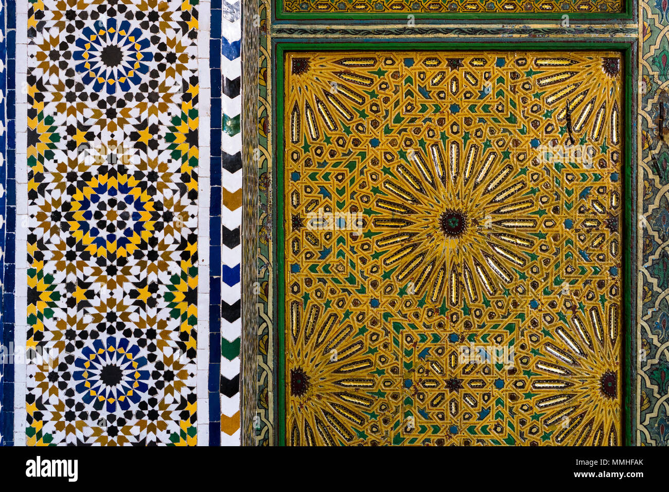 Traditional moroccan floral arabesque zellige mosaic decoration on a ...