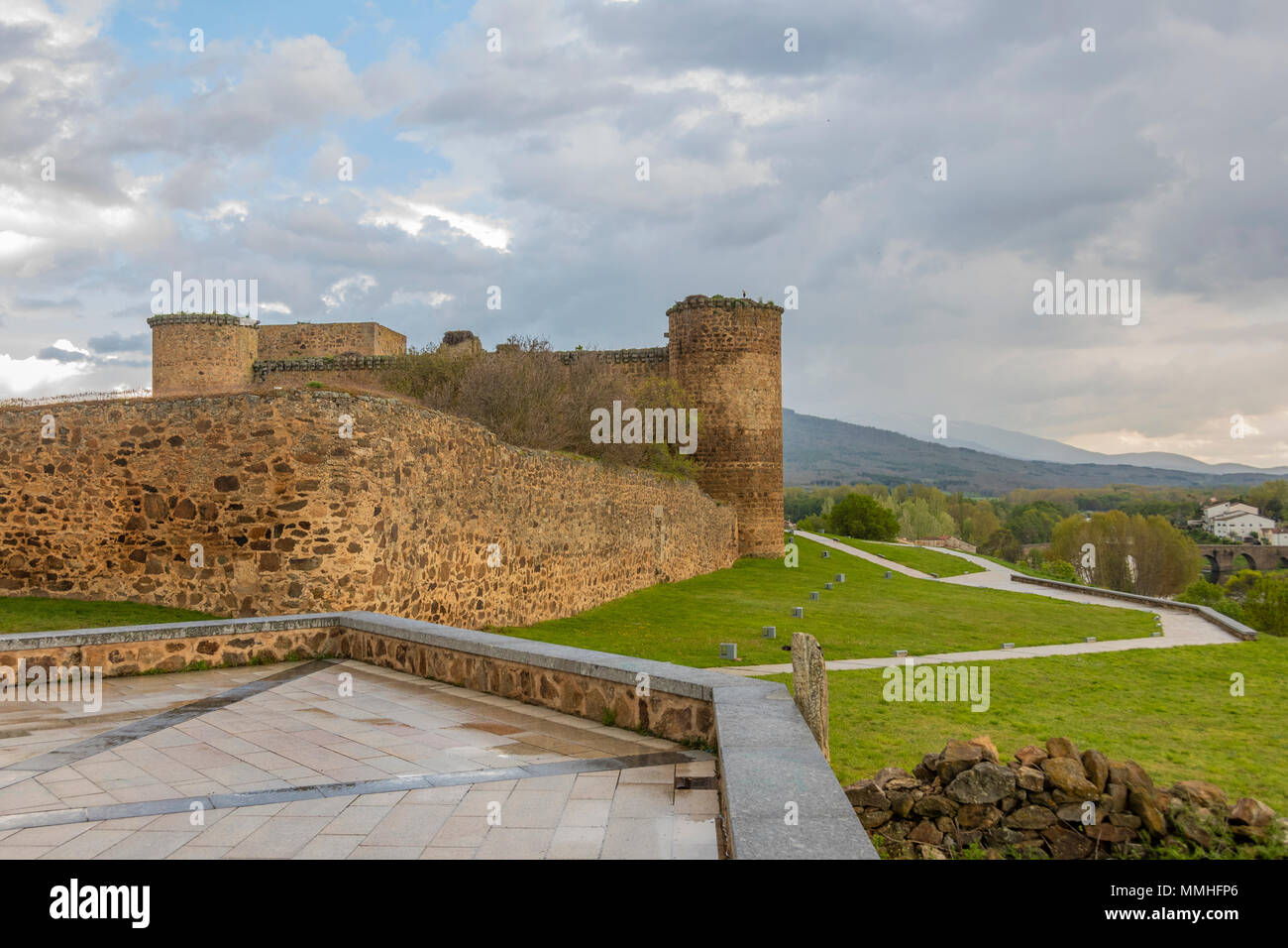 View of the castle of the city of El Barco or Valdecorneja castle built in the 12th century and rebuilt in the 15th century. Community of Castilla la  Stock Photo