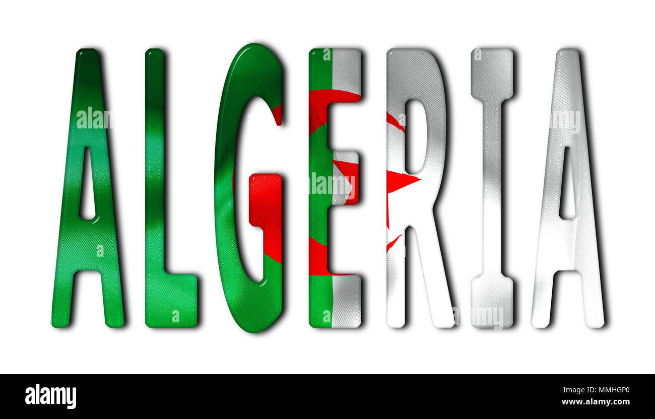 Algeria word with a bevelled flag texture on an isolated white background with a clipping path with and without shadows - Stock Image
