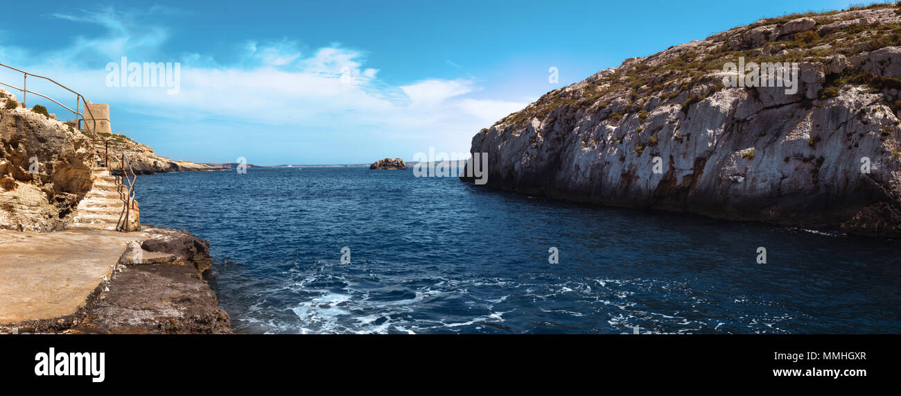 Azure bay at al Kantra, Gozo, Malta, EU - Stock Image