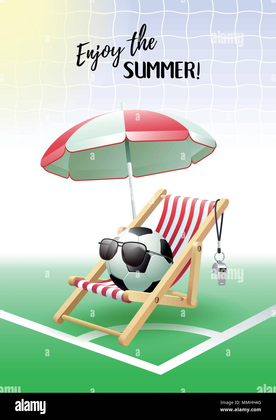 Enjoy the Summer! Sports card. Soccer ball with sunglasses ...