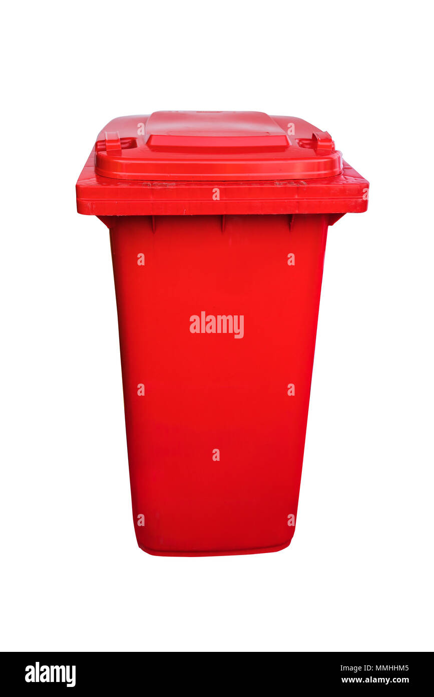 Plastic public trash can or rubbish bin isolated on white, clipping path. - Stock Image