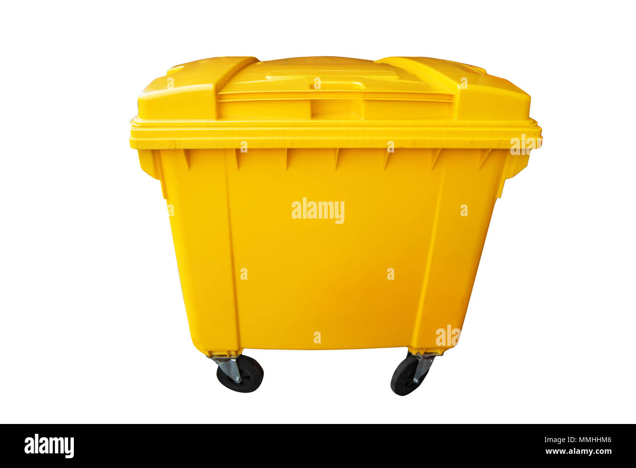 Public yellow trash can, recycle or rubbish bin isolated on white, clipping path - Stock Image