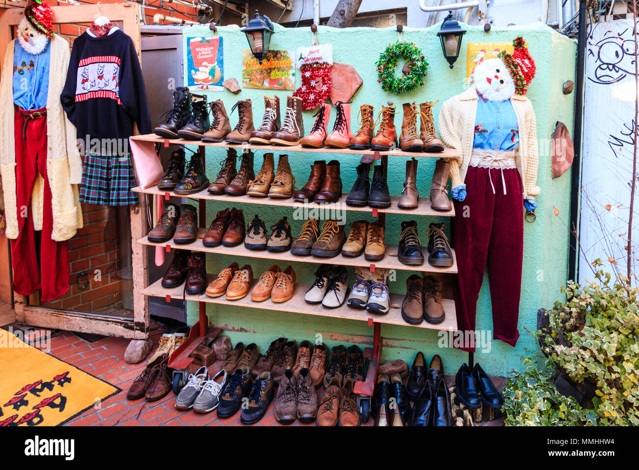 tokyo harajuku takeshita street panama boy used store exterior rack of boots on sale christmas decorations