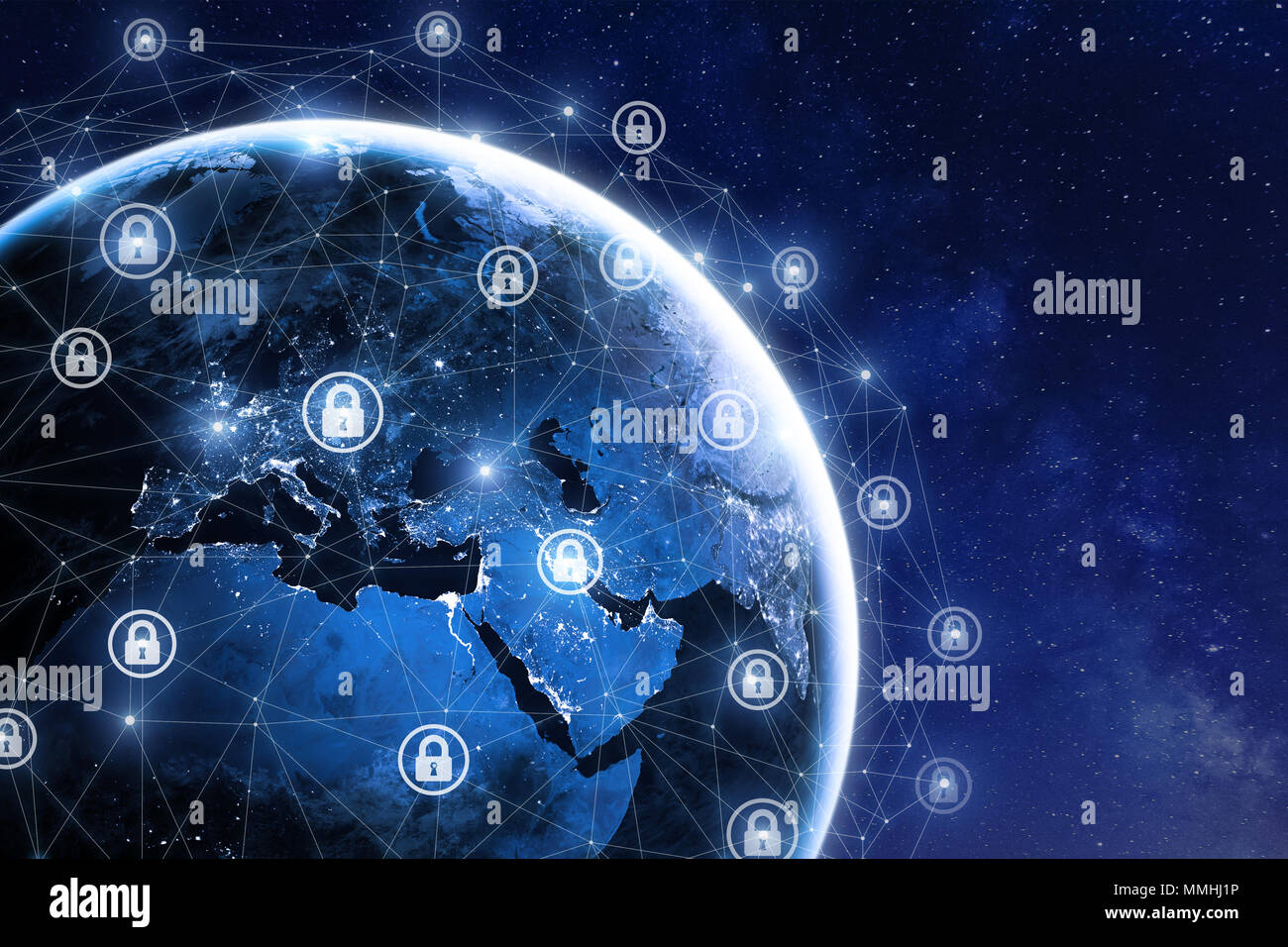 Cybersecurity and global communication, secure data network technology, cyberattack protection for worldwide connections, finance, IoT and cryptocurre - Stock Image