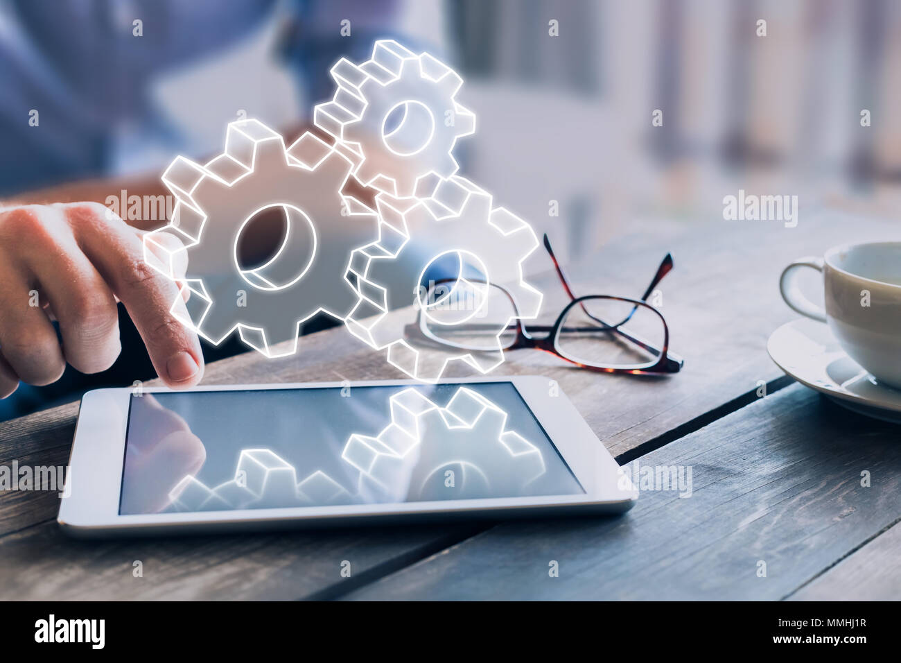 Business process management automation concept using internet technology and ERP (Enterprise Resource Planning) to improve productivity and efficiency - Stock Image