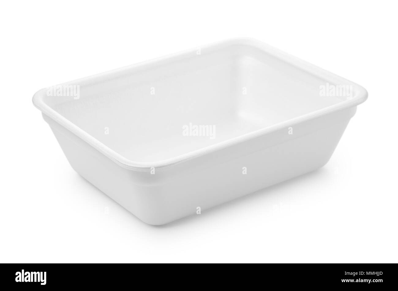 Open empty foam food container isolated on white - Stock Image