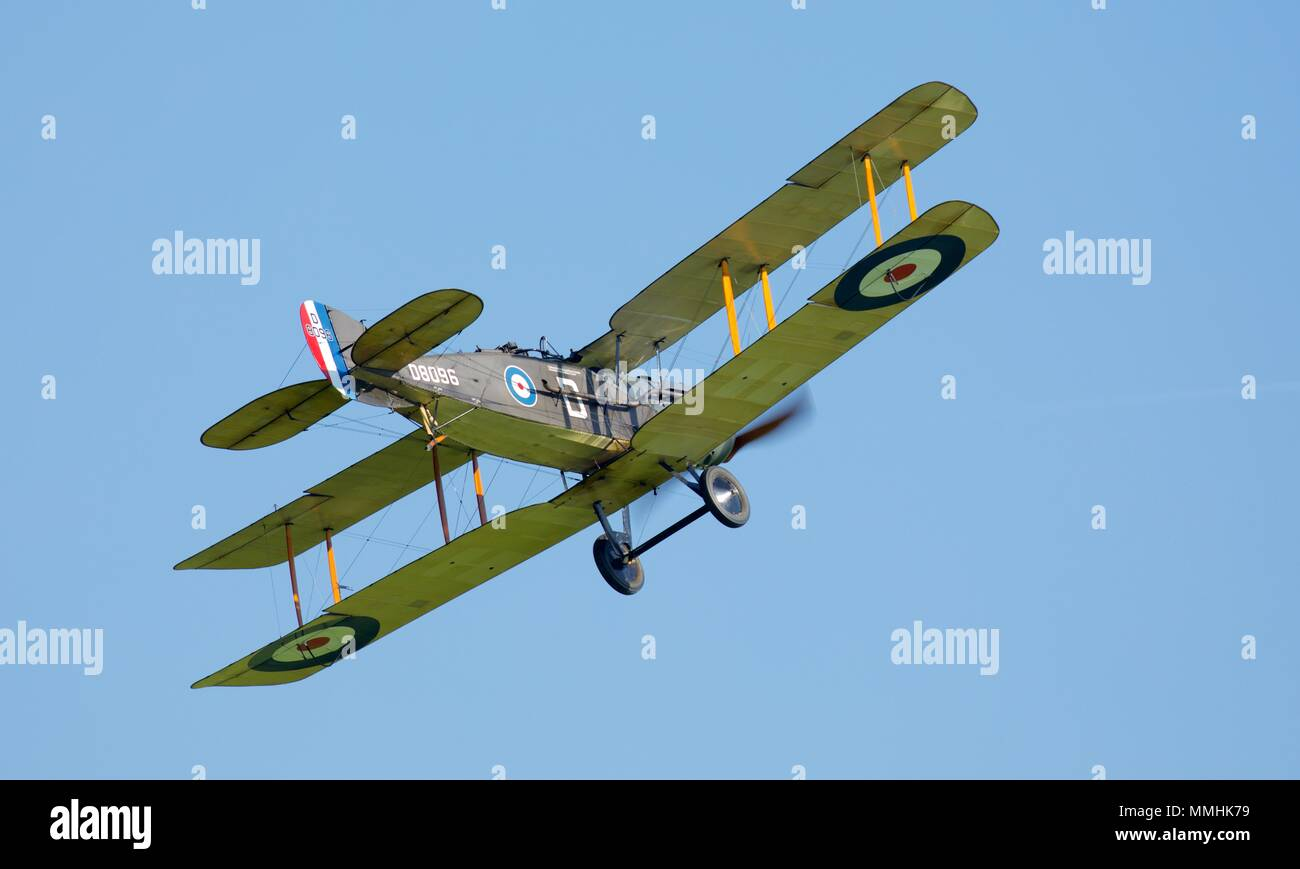 1917 Bristol F.2B - British two-seat bi-plane fighter aircraft designed by Frank Branwell, now part of the Shuttleworth Collection at Old Warden - Stock Image