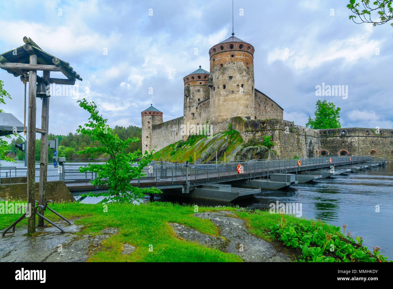 View of the Olavinlinna castle, in Savonlinna, Finland. It is a 15th-century three-tower castle Stock Photo