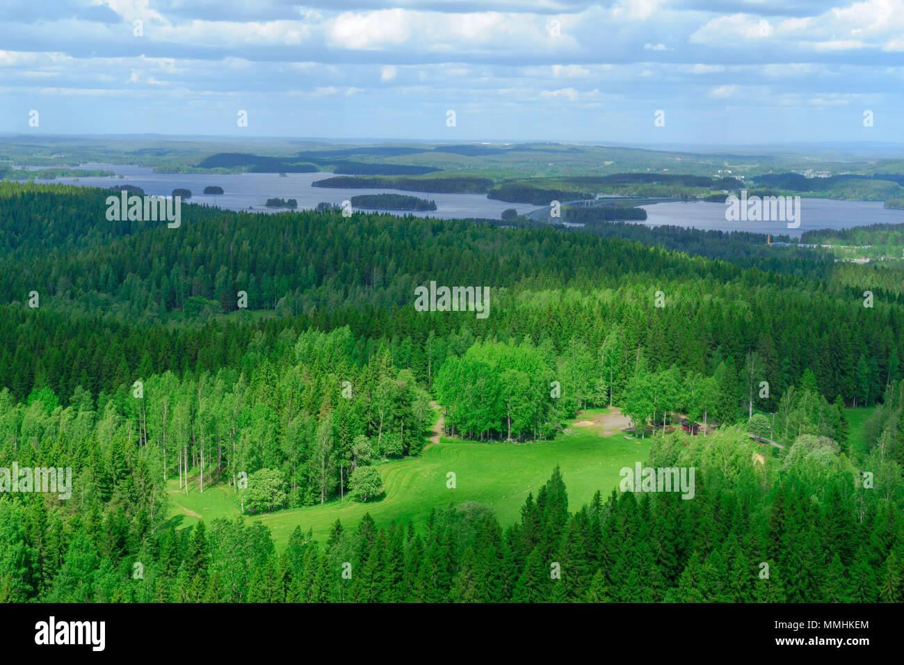 Landscape of Lake Kallavesi and Kuopio region, Finland - Stock Image