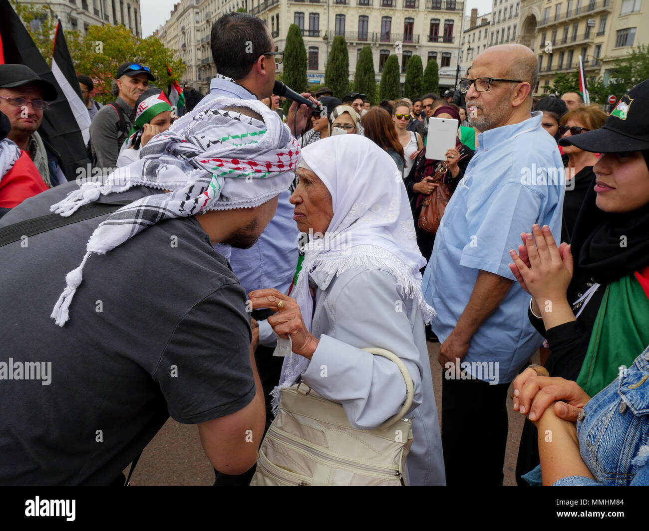 Hundreds of protesters take to the street to protest ahead of the 70th anniversary of Nakba , Lyon, France - Stock Image