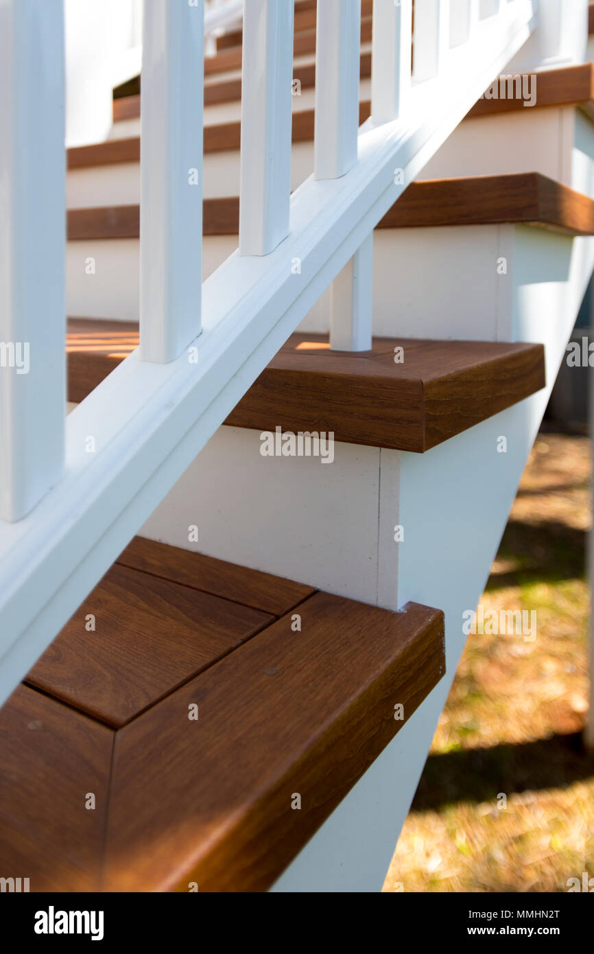 Outdoor home staircase with artificial wood steps alternative long lasting material - Stock Image