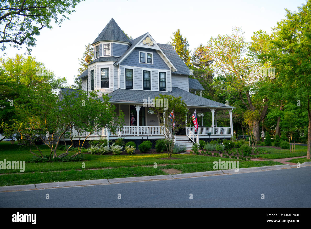 USA Maryland MD Kensington Montgomery County an original Victorian era private home in the old part of town - Stock Image