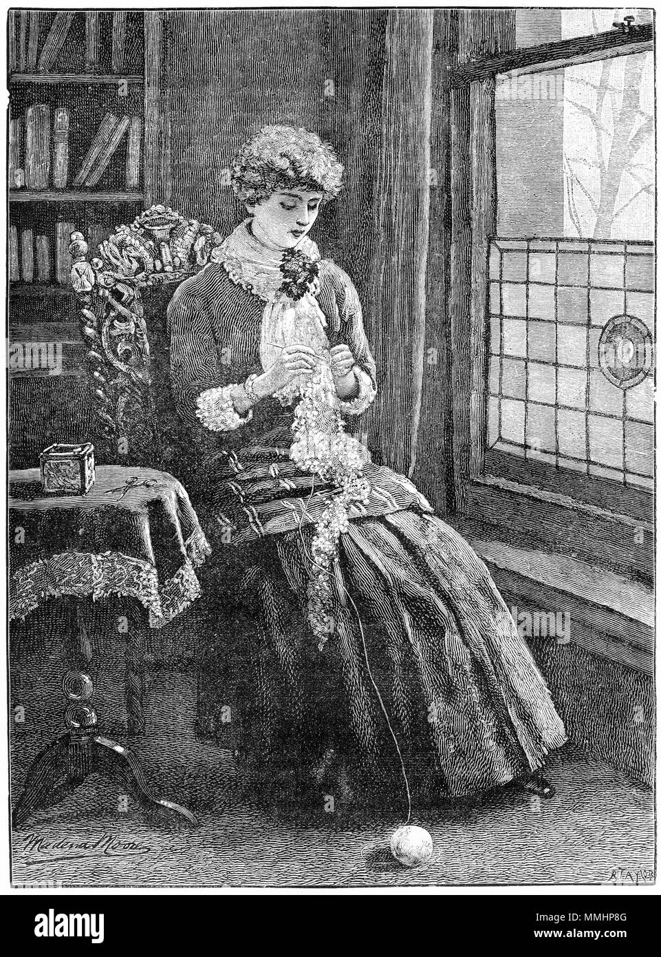 Engraving of a young woman crocheting at home. From an original engraving in the Girl's Own Paper magazine 1883. - Stock Image