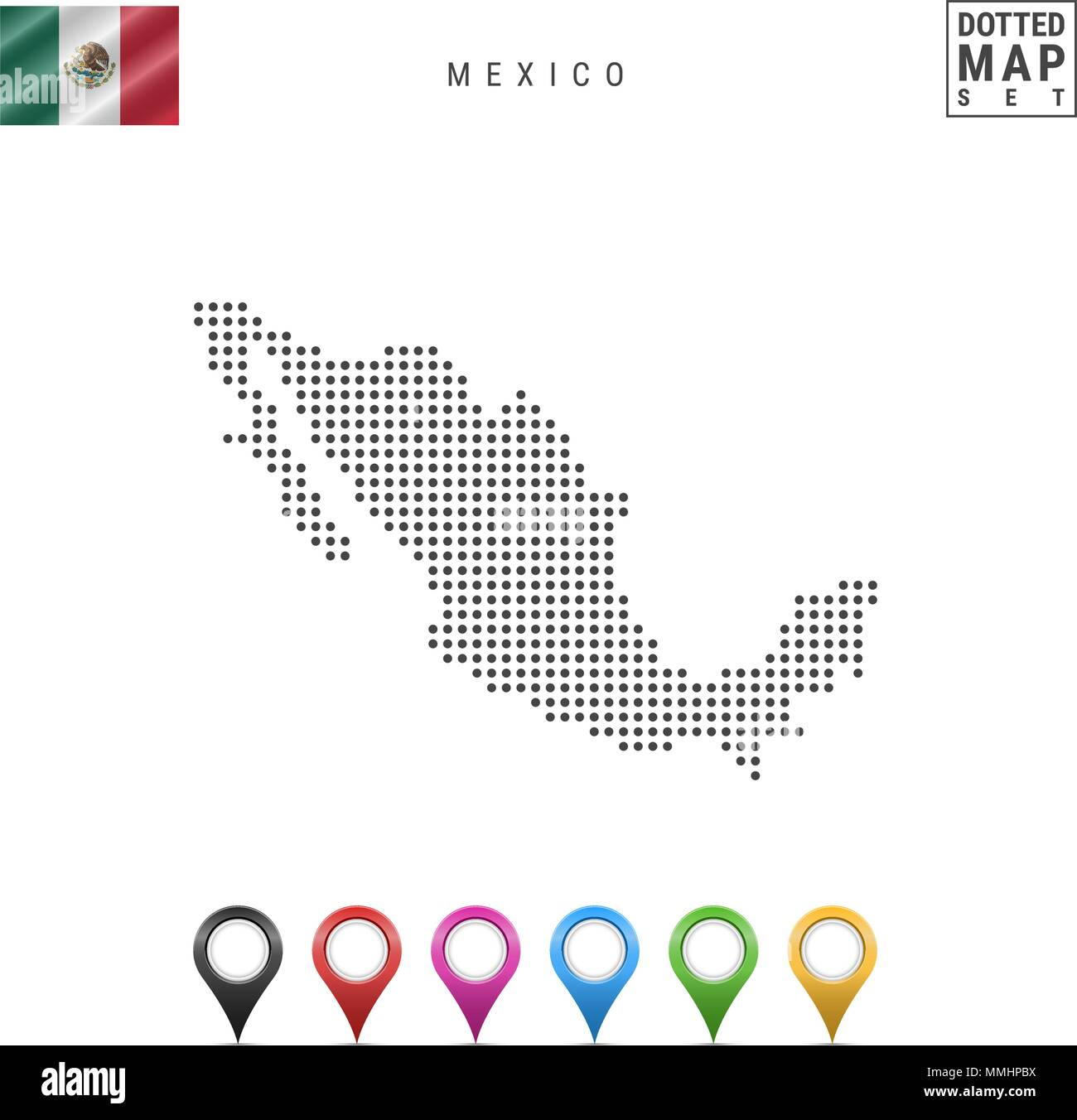 Vector Dotted Map Of Mexico Simple Silhouette Of Mexico The