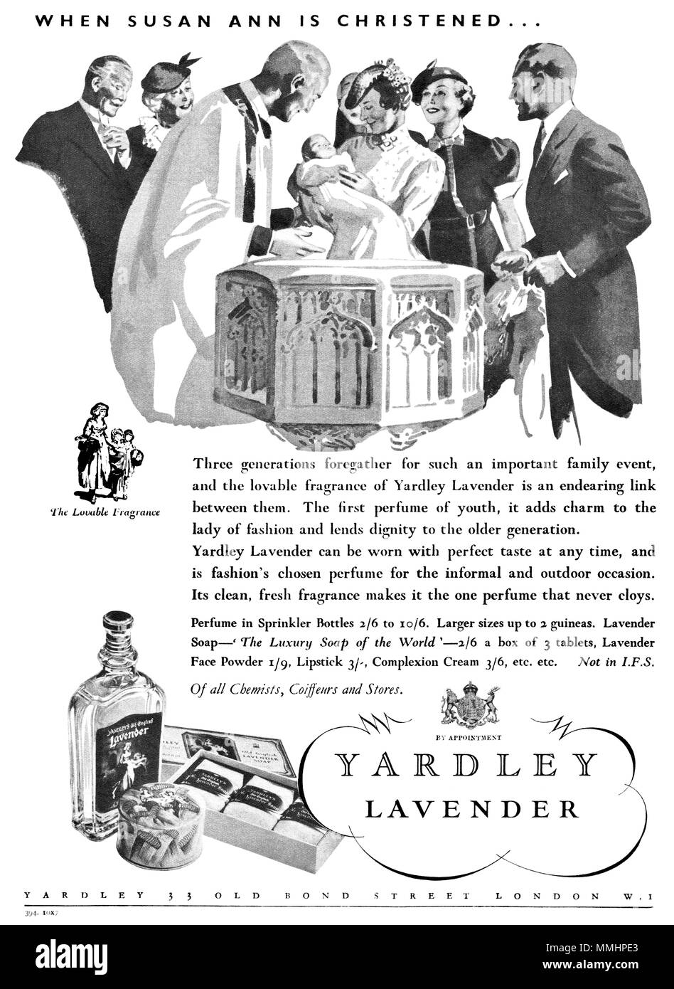 1936 British advertisement for Yardley Lavender perfume. - Stock Image
