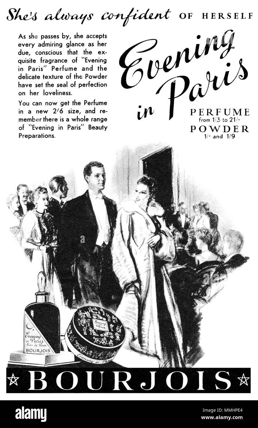 1938 British advertisement for Evening In Paris perfume by Bourjois. - Stock Image
