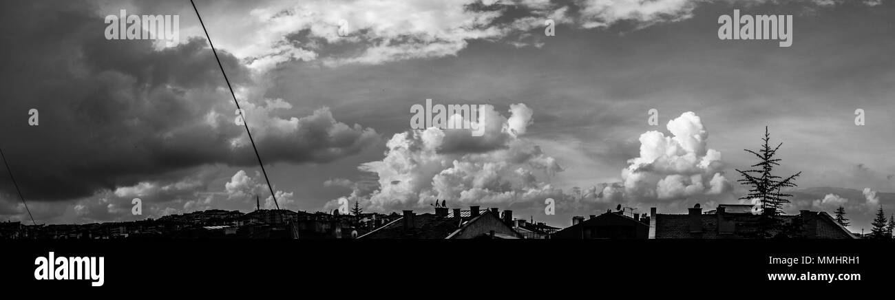 colorful city sunet cloudscape - Stock Image