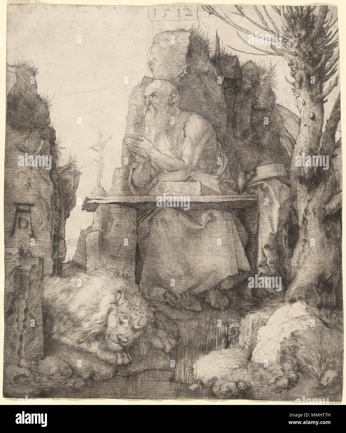 C11866.jpg Albrecht Dürer, Saint Jerome by the Pollard Willow, German, 1471 - 1528, 1512, drypoint, Rosenwald Collection Albrecht Dürer - Saint Jerome by the Pollard Willow (NGA 1943.3.3515) - Stock Image