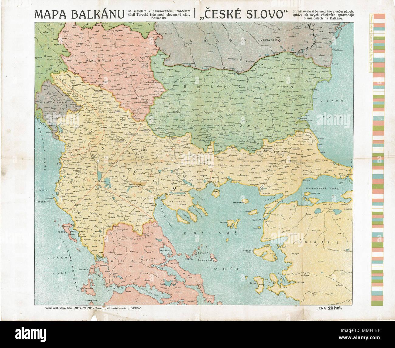 . Ελληνικά: Χάρτης των βαλκανικών επιχειρήσεων κατά την διάρκεια του Α' Βαλκανικού Πολέμου. Ο χάρτης δείχνει τα χαμένα εδάφη της Οθωμανικής Αυτοκρατορίας που προσαρτήθηκαν στο Μαυροβούνιο, την Σερβία και την Βουλγαρία. Οι περιγραφές είναι γραμμένες στην τσεχική γλώσσα.  . 1912/1913. ????????? ?eské slovo 69 Balkans War Theatre - Stock Image
