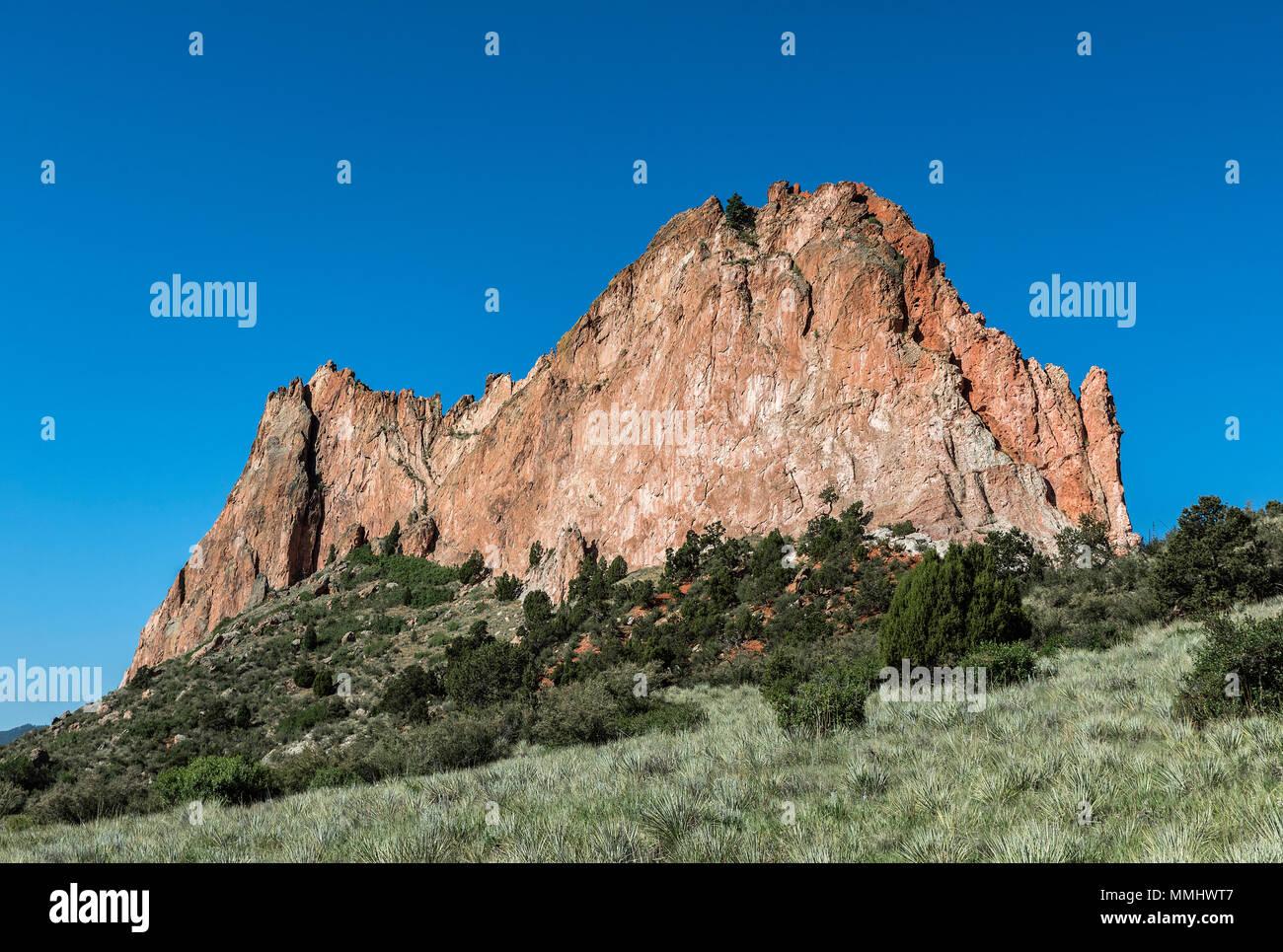 Cathedral Rock, Garden Of The Gods, Colorado Springs, Colorado, USA. - Stock Image