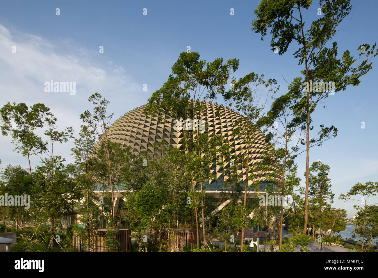 Exterior view of The Esplanade dome and the garden landscaping in the surrounding. - Stock Image