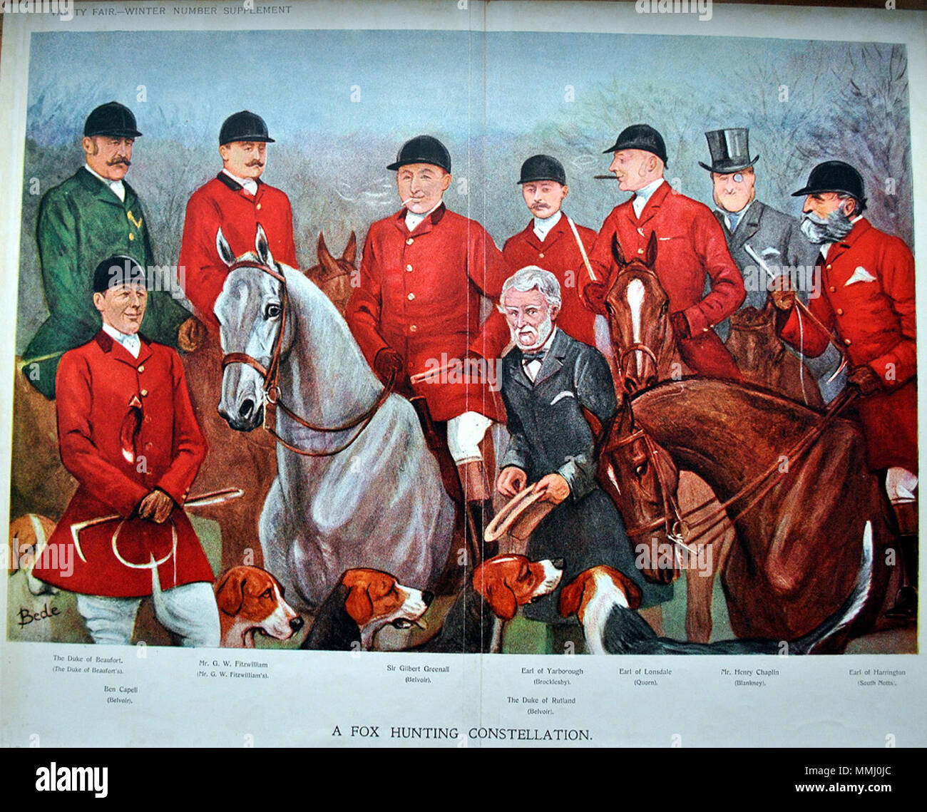 . Winter supplement: Group of hunters, double print. Caption reads: 'A Fox Hunting Constellation' Duke of Beaufort (The Duke of Beaufort's), Ben Capell (Belvoir), G.W. Fitzwilliam (Mr. G.W. Fitzwilliam's), Sir Gilbert Greenall (Belvoir), The Earl of Yarborough (Brocklesby), Duke of Rutland (Belvoir), Earl of Lonsdale (Quorn), Henry Chaplin (Blankney) and the Earl of Harrington (South Notts).  . 7 December 1905. 'Bede' (unidentified) Group of hunters, Vanity Fair, 1905-12-07 - Stock Image
