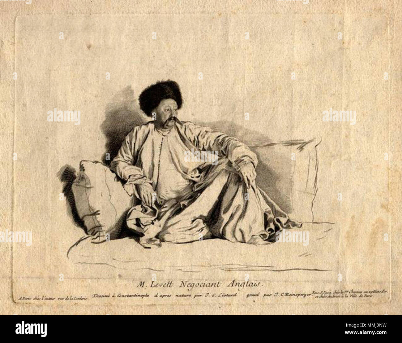 .  English: Portrait of English Turkey merchant Francis Levett, attired in Turkish costume, after the painting by Jean Etienne Liotard in the Louvre Museum in Paris, line engraving by Johann Christoph von Reinsperger. 'M. Levett, Negociant Anglais' . Francis Levett of Nethersole, Kent, England, was chief representative of the Levant Company in Constantinople (Istanbul) from 1737–1750. Levett was also a benefactor of Morden College, London.  by; after Johann Christoph von Reinsperger; Jean Etienne Liotard,print,mid 18th century FrancisLevett - Stock Image