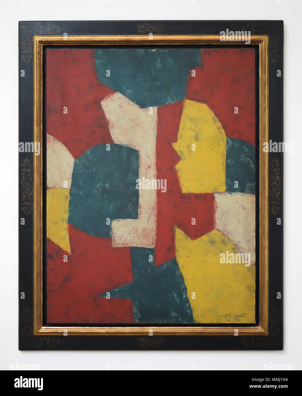 Painting 'Composition in Red, Yellow, Green and White' (1953) by Russian-French modernist painter Serge Poliakoff on display at the exhibition 'WOW! The Heidi Horten Collection' in the Leopold Museum in Vienna, Austria. The exhibition presenting the masterpieces from one of the most impressive European private collections runs till 29 July 2018. - Stock Image